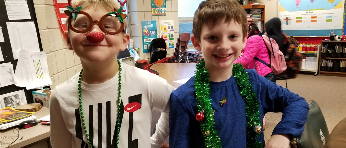 Students decorated for Christmas.