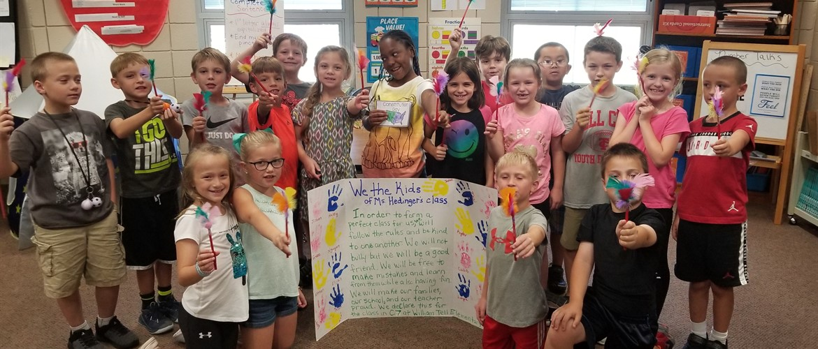 Ms. Hedinger's class with their own Preamble for Constitution Day.