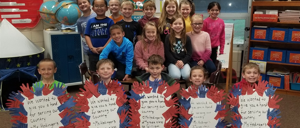Students with their handmade Veteran's Day signs.