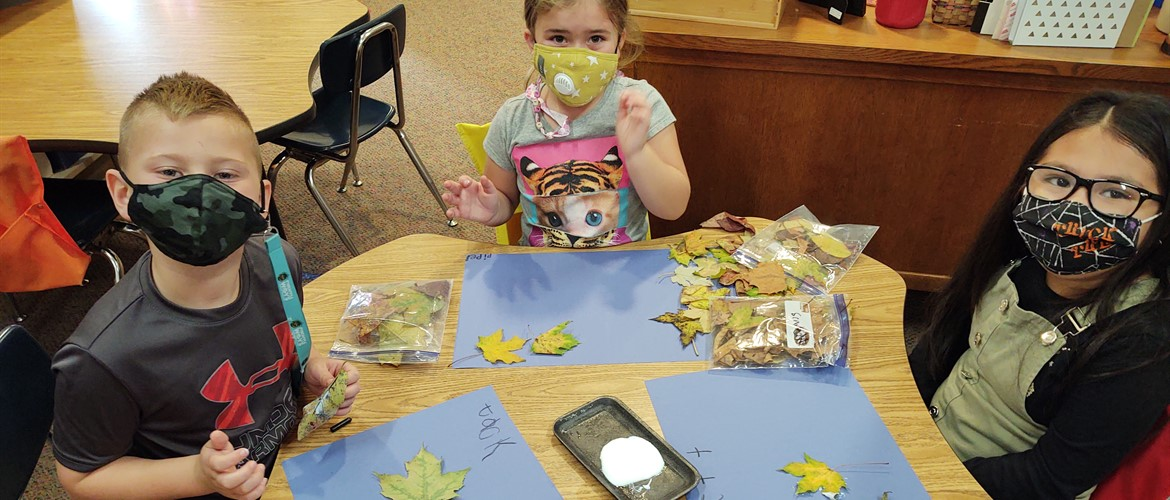 Students display their leaves they found for their mosaics.