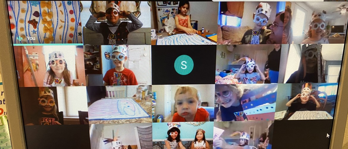 Students dress for 100th day virtually.