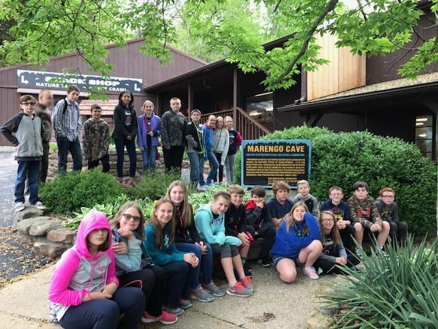 Ms. Wetzel's class takes a break and poses for a photo while on their field trip to Marengo cave.