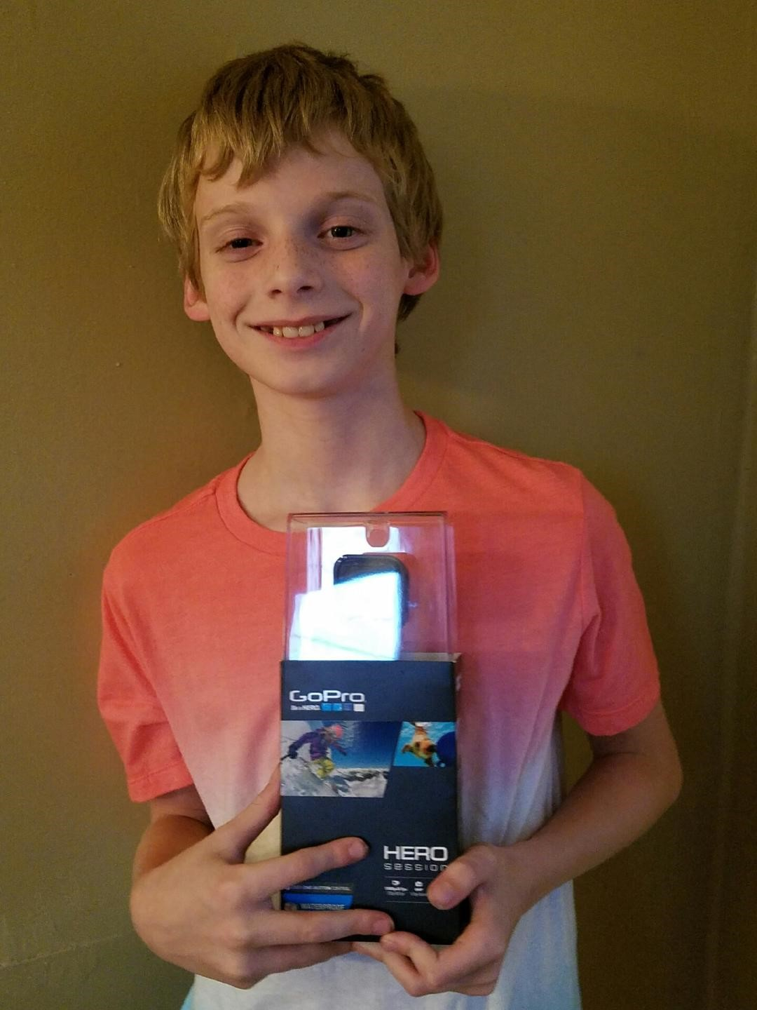 Gage P. in 6th grade is the winner of the Back to School Night Go Pro camera. Cool.