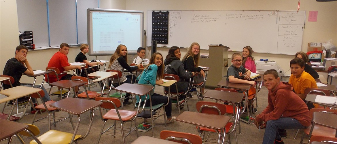 Mr. Taylor's math class is ready to learn.