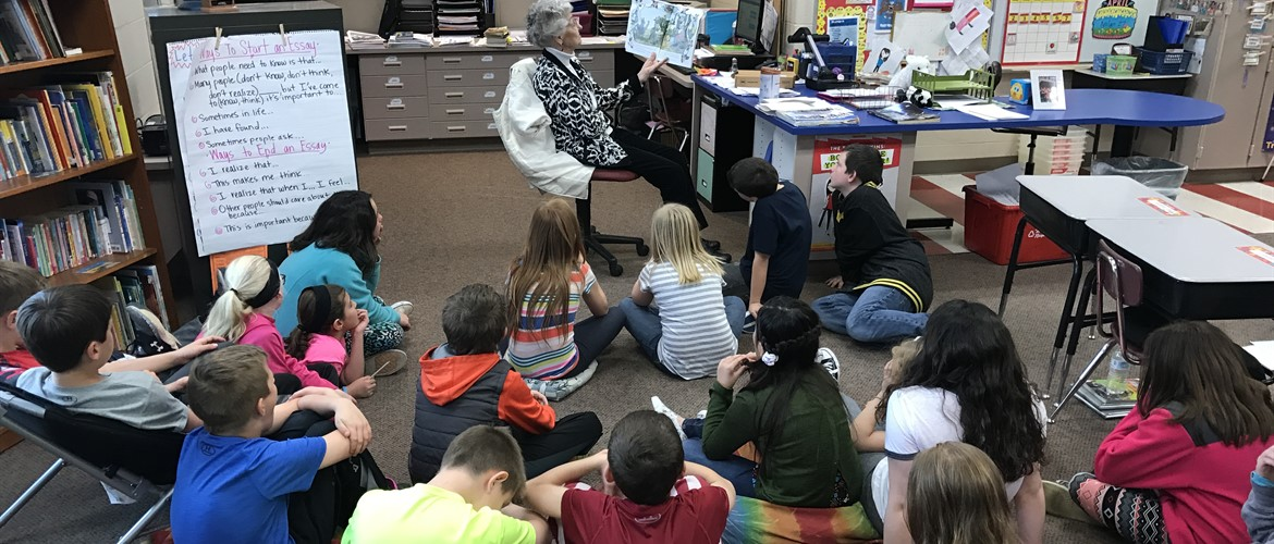 Dot Kessner, VCR reader reads to Ms. Terry's class.