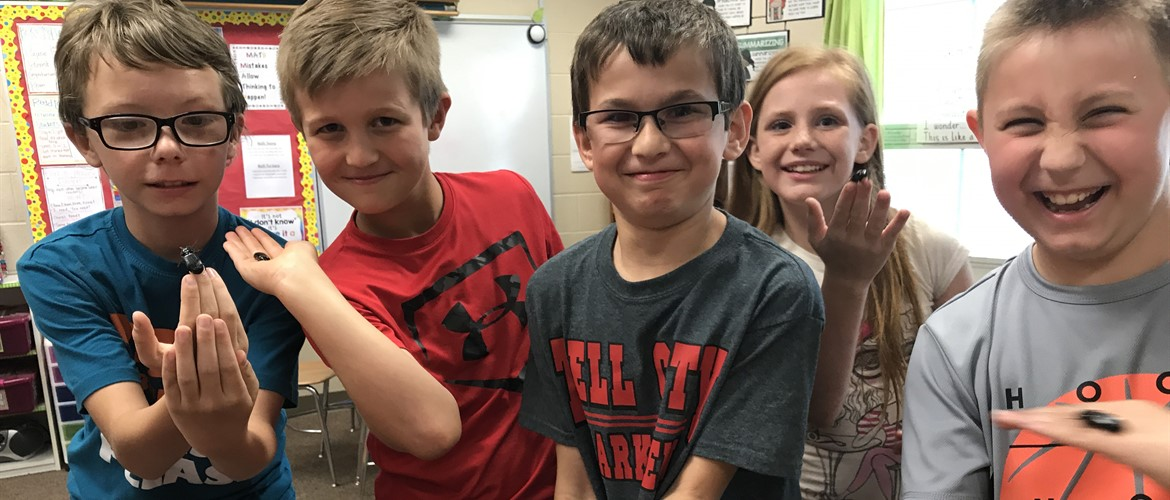 Ms. Terry's class is learning about structures of life in science. They are studying seeds and Bess Beetles and how their structure allows them to grow and survive! James, Nolan, Gavin, Jamie, Nathan are holding their new Bess Beetles for the first time. Their new BBF's. Bess Beetle Friends.