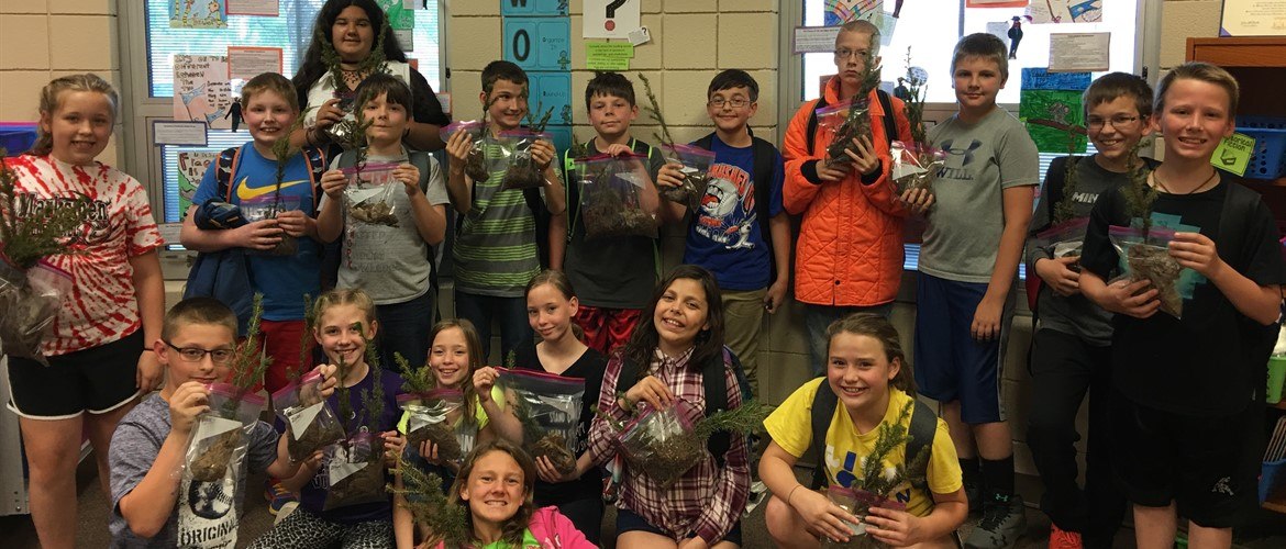 The fifth grade students learned about trees on Friday with the U. S. Forest Service. They were able to take trees home Monday to honor Arbor Day this Friday!