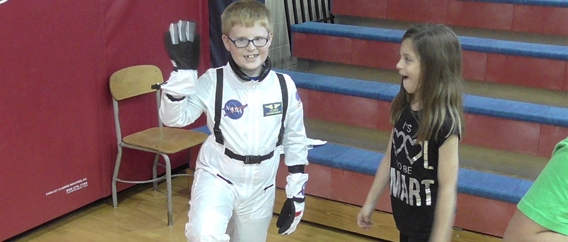 Space...the final frontier. Kelton portrays an astronaut in the third grade wax museum.