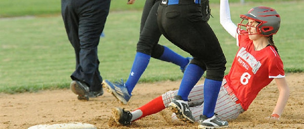 Lizzy slides into 2nd base with a stolen base.