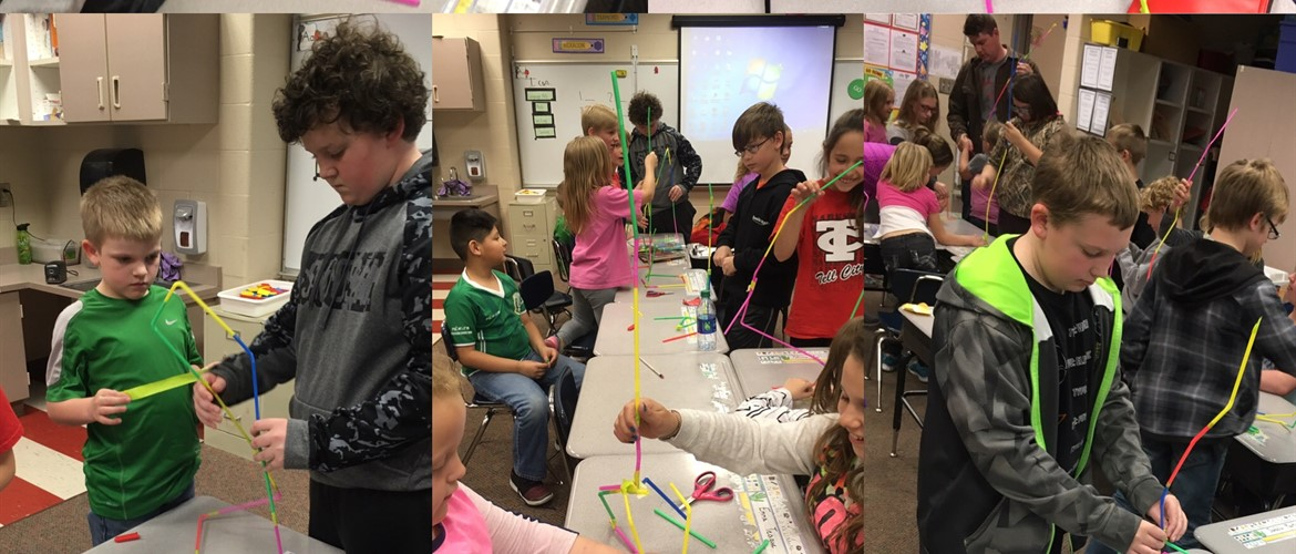 Ms. Peter's 5th grade class and Mr. Hollinden's 1st grade class collaborate to build a tower with ten straws and three feet of tape.