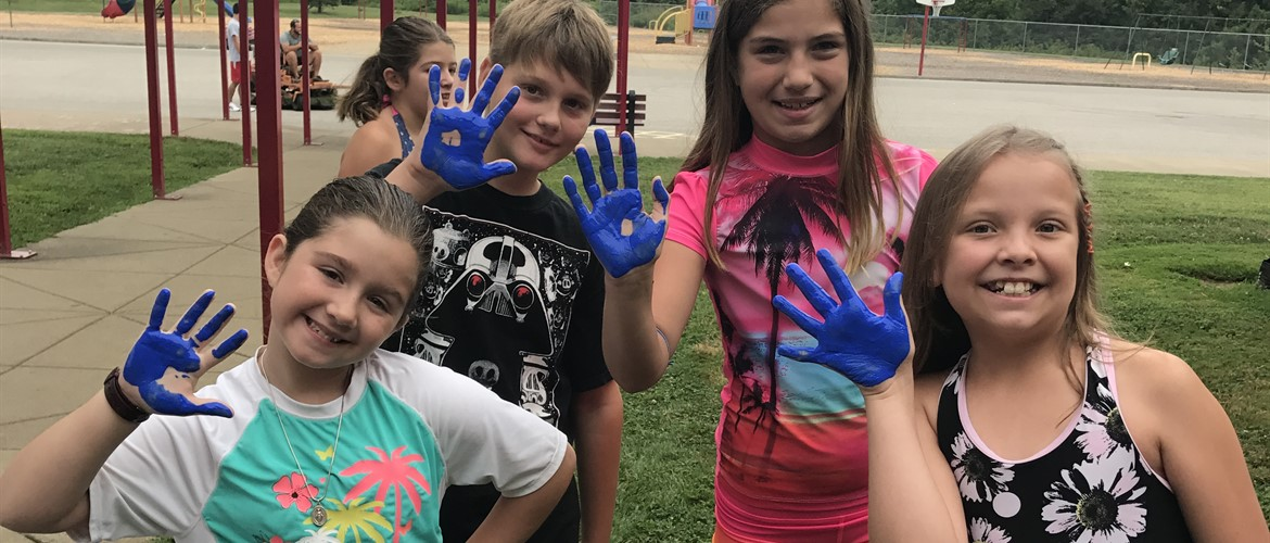 Blue hands in Ms. Terry's class equals spreading kindness.
