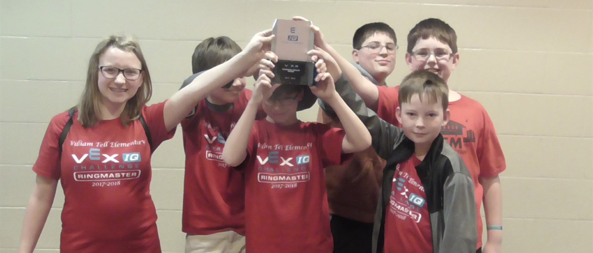 Marksmen VEX team shows their award for 2nd place at the Lincoln Trail tournament.