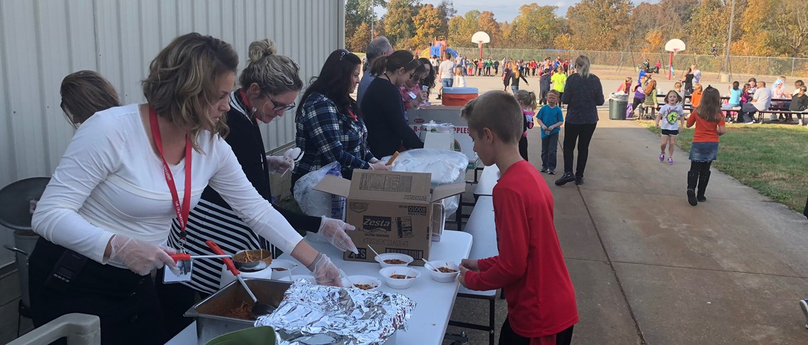 Chili line at the Fall Festival.