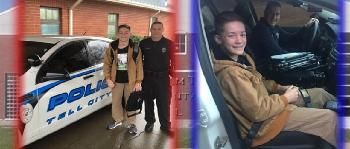 "Student riding with School Resource Officer for the ""Ride With Pride"" program."